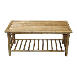 Bamboo54 - Coffee Table - The tropically patterned Coffee Table provides an appearance that will be certainly well suited to an outdoorsy, summery dcor. This accent funiture is made of real bamboo with an oil treated finish for a natural look. A flexible yet sturdy make is provided on this piece for long lasting use. The under rack provides an excellent place for storage or display and the knock down assembly design ensures that this unit is quite simple to piece together. Take your accent furniture on an island get away with this Bamboo Coffee Table.