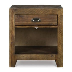 Braxton 1 Drawer Nightstand - Distressed Natural - Proving once again that sometimes the simplest designs carry the most impact, the Braxton 1 Drawer Nightstand - Distressed Natural makes a chic addition to your bedroom. The rustic yet urban appeal of rough-hewn wood, clean lines, and a distressed natural finish create a haven of design right next to your bed. One drawer provides convenient storage to keep small items close at hand, while the open shelf is ideal for favorite accessories or books. The traditional metal cup pulls add a perfect finishing touch. Now the only question is what type of lamp to put on top.About Magnussen FurnitureFrom its beginning as a small furniture company in Ontario, Canada, Magnussen Furniture has evolved into a full-line furniture resource with offices in Canada, the United States, and the Far East. Their business is creating furniture designs of exceptional style, value, and beauty. They produce these designs in partnership with manufacturing partners around the world that meet exacting standards for superior quality at the best possible value.