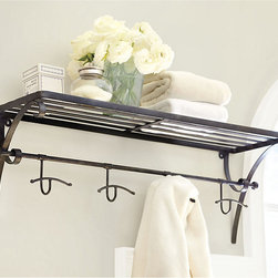 Ballard Designs - Berkshire Shelf - I love this black shelving unit that doubles with hooks. It looks so beautiful with white towels.