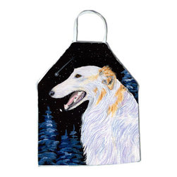 Caroline's Treasures - Borzoi Apron SS8626APRON - Apron, Bib Style, 27 in H x 31 in W; 100 percent  Ultra Spun Poly, White, braided nylon tie straps, sewn cloth neckband. These bib style aprons are not just for cooking - they are also great for cleaning, gardening, art projects, and other activities, too!