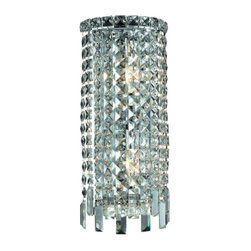 "PWG Lighting / Lighting By Pecaso - Chantal 2-Light 8"" Crystal Wall Sconce 1727W8C-EC - The unique design of the Chantal Collection inspires any room setting. Dazzling spectacles of light sparkles throughout the fixture creating a modern, yet timeless beauty and elegance."