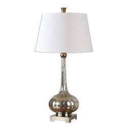 Uttermost - Oristano Mercury Glass Lamp - Fluted Mercury Glass Accented With Polished Nickel Plated Details. The Round, Slightly Tapered Hardback Shade Is A White Linen Hardback. Number Of Lights: 1, Shade: Round, Slightly Tapered Hardback, Shade Size: Height: 11, Top: 13w X 13d, Bottom: 17w X 17d, Voltage: 110, Wattage: 150w, Bulbs Included: No