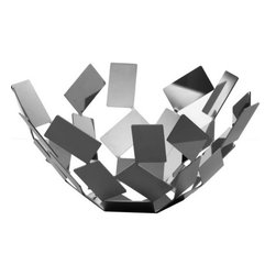 Modern Silver Fruit Holder - Whimsical and imaginative, this Fruit Holder derives its name from a gust of wind—an apt descriptor for a sculptural bowl that features a flurry-like form made from geometrically irregular pieces.