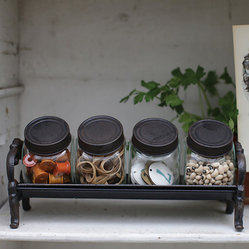 Decorative Glass Jars with Cast Iron Rack