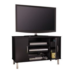 South Shore - South Shore Renta Corner TV Stand in Pure Black - South Shore - TV Stands - 4507690 - An affordable choice: The combination of closed and open storage spaces in this modern-design corner TV stand from the Renta collection makes it a highly functional piece. Its simple lines and metallic touches make for a contemporary style that goes well