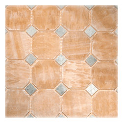 """Honey Polished Octagon Pattern Mesh-Mounted Onyx Tile - 2"""" x 2"""" Honey Mesh-Mounted Octagon Pattern Onyx Mosaic Tile .6 in. Ming Green Dot Insert is a great way to enhance your decor with a traditional aesthetic touch. This polished mosaic tile is constructed from durable, impervious onyx material, comes in a smooth, unglazed finish and is suitable for installation on floors, walls and countertops in commercial and residential spaces such as bathrooms and kitchens."""