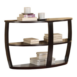 Homelegance - Homelegance Patterson Half Moon Wood Sofa Table in Espresso - Convex framing supports the modern look of the Patterson Collection. Featured in a warm espresso finish, the occasional collection's rounded features are further complimented with display shelving.