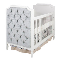 Newport Cottages - Beverly Crib with Tufted Panels - This is one crib guaranteed to give your nursery the posh appeal that you've been searching for. Plush tufted outside panels add a touch of sumptuous luxury to this classic early Hollywood-inspired style.