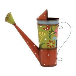 None - Metal Garden Watering Can - Multicolored Lime/Red metal watering cans each painted with multiple colors and accented with fun flowery patterns. Adds a touch of eclecticism to any decor. Features include an array of colors and forms.