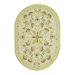 Safavieh - Chelsea Rug, Ivory/Green, 8' x 8' Round - 100% pure virgin wool pile, hand-hooked to a durable cotton backing. American Country and turn-of-the-century European designs. This collection is handmade in China exclusively for Safavieh.