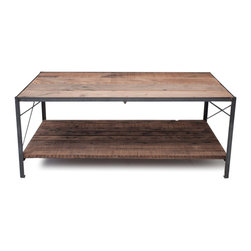 Blake Avenue - Marais Coffee Table - This beautiful reclaimed Douglas Fir coffee table with hot rolled steel detailing is perfect for a modern, yet rustic home. Two-tiers for decoration as well as storage. Finished with fine-sanding.