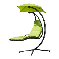Great Deal Furniture - Avera Steel Hanging Lounge Chair, Green - The Avera Steel Hanging Lounge Chair is a unique take on the outdoor lounge chair. The innovative design allows users to be perched in the air as if on a hammock, but are positioned as if on a chair. Lounge in comfort while being protected by the sun with an attached canopy that matches the color of the chair. This hanging chair is fun, functional and designed for optimum relaxation.
