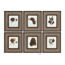 Uttermost - Special Friends Wall Art Set of 6 - Medium brown burlap mats surround the prints. Frames and fillets have a black base coat with heavy brown and taupe distressing accented with gold dry brushing.