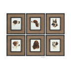 Uttermost - Special Friends Wall Art Set/6 - Medium Brown Burlap Mats Surround The Prints. Frames And Fillets Have A Black Base Coat With Heavy Brown And Taupe Distressing Accented With Gold Dry Brushing.