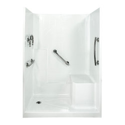 """Ella's Bubbles - Ella Freedom Low Threshold Shower System 60""""W x 33""""D x 77""""H, Right Hand Seat - The Ella Freedom, (3-Piece) 60 in. x 32 in. Low Threshold Shower is manufactured using premium marine grade gel coat fiberglass which creates a smooth, beautiful, long lasting surface with anti-slip textured shower base floor. Ella Freedom Low Threshold Shower walls are reinforced with wood providing flexibility for the grab bar installation at needed height for any size bather. The integral self-locking aluminum Pin and Slot System allows the shower walls and the pre-leveled shower base to be conveniently installed from the front. Premium quality material, no need for drywall or extra studs for fixture support, 30 Year Limited Lifetime Warranty (on shower panels) and ease of installation make Ella Low Threshold Shower the best option in the industry for your bathtub replacement or modification needs."""