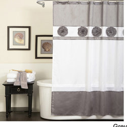 Lush Decor - Lush Decor Seascape  Shower Curtain - Delicate gathered flowers accent this tonal shower curtain from Lush Decor. Constructed of faux silk,this shower curtain is available in  several color palettes.
