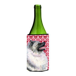 Caroline's Treasures - Keeshond Hearts Love and Valentine's Day Portrait Wine Bottle Koozie Hugger - Keeshond Hearts Love and Valentine's Day Portrait Wine Bottle Koozie Hugger Fits 750 ml. wine or other beverage bottles. Fits 24 oz. cans or pint bottles. Great collapsible koozie for large cans of beer, Energy Drinks or large Iced Tea beverages. Great to keep track of your beverage and add a bit of flair to a gathering. Wash the hugger in your washing machine. Design will not come off.