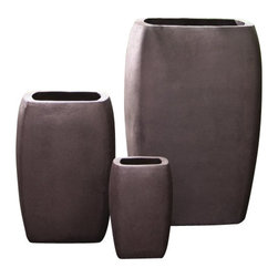 "Campana - Iso-Pod Modrn Square Tall Column Planter, 14"" X 14"" X 20"" - The sleek contemporary renderings of natural curvatures embody the imagery of this durable fiberglass collection. Slightly, but uniformly, textured refined matte finished surface colors and edging understate the Iso-Pod Modrn Planter Collection. A planter selection that will harmonize with simple-form plantings or contrast multi-colored complex flowering plants. The largest tall planter (PTC-21) is more than three times the volume of the (PTC-14) and a proportional cost savings at a value price."