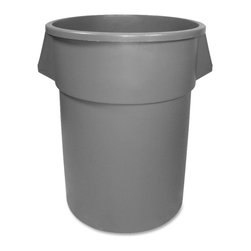 Continental - Continental 55 Gal Round Receptacle - 55 gal Capacity - Round - Molded of engineered resins with seamless construction, this strong, long lasting 55-Gallon Round Receptacle can be used by virtually every industry from food prep to foundries, refuse to bio-hazard waste. Newly added Bag Cinch eliminates the need to tie knots in the polyliner to keep it secure around the receptacle rim. Receptacle is stackable with lid on, nestable with lid off.