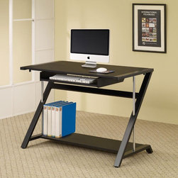 Coaster - Black Contemporary Desk - This functional office desk is perfect for your home office or bedroom. It features a slide-out keyboard tray and is finished in black with chrome accented tube support.