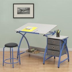 Studio Designs - Adjustable Desk Center with Stool  - Blue - Overall Dimensions: 50 in. W x 23.75 in. D x 29.5 in.  - 35.5 in. H.  Top Dimensions: 36 in. W x 23.75 in. D.  Three 12.75 in.  x 12.75 in.  Storage Drawers.  24 in.  Slide-Up Pencil Ledge.  Additional Under Desktop Storage Shelf.  Top Angle Adjustment from Flat to 40 Degrees.  Heavy Gage Steel Construction for Durability.  (6) Floor Levelers for Stability.  20.5 in. H Padded Stool IncludedThis 3-piece center by Studio Designs provides a comfortable work space and keeps your supplies easily accessible. The table top is adjustable up to 40 degrees and includes a 24 in. pencil ledge that slides up and locks into place when needed. The set also features three adjacent storage drawers and a padded stool. The durable heavy gage steel construction includes six floor levelers for stability. Main work surface: 36 in. W x 23.75 in. D. Overall dimension: 50 in. W x 23.75 in. D x 29.5 in. -35.5 in. H