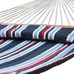 "Smart Solar - Santorini Premium Reversible Double Hammock - Navy Stripe/Solid - Premium hardwood spreader bars. Hand oiled finish with burnished logo. 1/4 in three ply twisted rope hand woven and tied by professional craftsman. Custom quilted cotton fabric with 150 gr poly fill with pillow included. Reversible design allows plain or stripe design to be displayed. Extra large double size with a 500 lb capacity. Rust proof zinc plated hanging rings and hardware included. 80"" long bed between wooden spreader bars. 156"" long from ring to ring (without chains). 180"" long total (with chains). Fits all standard double hammock stands. Includes poly bag for convenient storage. Shown with Belize metal stand (sold separately)."