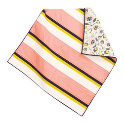 abbey's house - Baby quilt-Strips and floral - This quilt is made with pink, navy blue, yellow, and white strips to create a simple yet elegant look. The floral on the back is a beautiful match and makes this quilt modern and classy. Perfect size to wrap up your baby or use as a play mat.