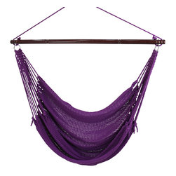 """Caribbean Hammocks - Jumbo Hammock Chair 55"""" Wide Free Suspension Kit, Purple - This is truly the king of the 'Jumbo' Hammock Chairs. Most other 'Jumbo' chairs are 47"""" wide, but this Jumbo Hammock Chairs spreader bar is 55"""" wide. Why? Well the wider the spreader bar, the more comfortable it is. When making comparisons make sure to check the width of the Hammock Spreader Bar."""