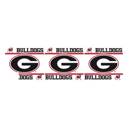Sports Coverage - NCAA Georgia Bulldogs Self Stick Wall Border - It's so quick and amazing, just peel and stick! Self-stick, removable, and reusable NCAA Georgia Bulldogs Wall Borders are the easy way to decorate and won't damage walls! Peel and Stick technology will adhere to any smooth surface. Washable and dry strippable. Colorful graphics are printed on durable, tear-resistant vinyl wall border in the repeating pattern shown. Size: 5 x 15' long per package. It's so quick and amazing, just peel and stick! Installation has never been so easy!