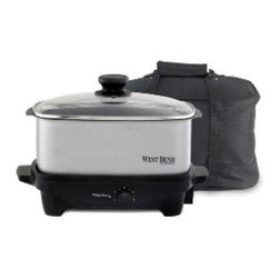 Focus Electrics - Oblong Slow Cooker 5 Qt. - West Bend 5 Qt. Oblong Slow Cooker. The 5 Qt. removable cooking pot can be used as a serving dish and can be used on the stove top or in the oven.  It can also be stored in the refrigerator or freezer.  The base doubles as a light duty non-stick griddle.  Adjustable temperature control.  Glass lid and cooking pot are dishwasher safe.   Comes with a carrying tote and plastic travel lid.
