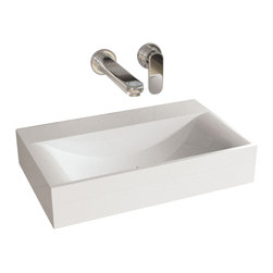 ADM - ADM White Solid Surface Stone Resin Wall Hung Sink, Matte - CW-101
