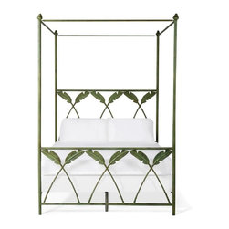 Corsican - Iron Canopy Bed Corsican 1043634 Palm Leaf, King - Corsican has been in business over 40 years. Their entire focus is making wrought iron furniture. Many of their skilled craftsman are second generation.