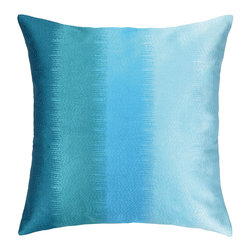"""Nanette Lepore - Nanette Lepore Ombre Aqua Embroidered Pillow - This Nanette Lepore embroidered pillow complements transitional interiors with a fresh, modern design. Featuring stunning aqua hues, this decorative accessory dazzles with an ombre print.  20""""W x 20""""H; 100% ramie; Dry clean only; Feather down fill insert included"""