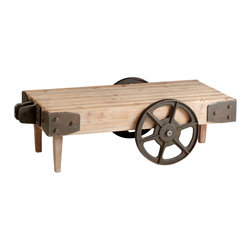 "Kathy Kuo Home - Wilcox Industrial Rustic Wagon Cart Coffee Table - More ""Boardwalk Empire"" than ""Annie Get Your Gun"" the Wilcox Cart table celebrates the raw ingredients of the industrial revolution and rugged individualism of the West.  From industrial lofts to rustic cabins and beyond,  this table is a welcome addition."