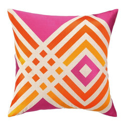 Trina Turk - Trina Turk Los Olivos Embroidered Pillow-Pink - The Pink Los Olivos Embroidered Pillow by Trina Turk is part of a line infused with bold signature prints and unique dynamic hues, Trina's modern and optimistic outlook meld the best of classic American design with a California confidence, incorporating beautiful fabrications and impeccable quality for the effortless elan and carefree glamour.