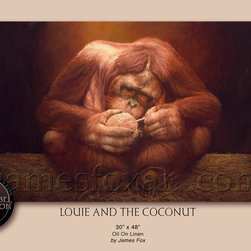"""""""Louie And the Coconut""""Black Label Collection by James Fox - Fox and Fox Art LLP linda Valukas Blum"""