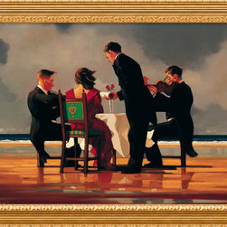 "Amanti Art - ""Elegy for a Dead Admiral"" Framed Canvas by Jack Vettriano - On the prowl for something quirky to hang over the bar or in the den? What about this 1920s-inspired print by Jack Vettriano? Its somber subject matter is lightened by the artist's generous use of color and its fantasy-like setting. The antique gold frame is accented with red undertones."