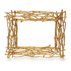 """Michael Aram """"Twig"""" Goldplate Frames - The gold twig theme could work seamlessly, especially if you gather twigs from the yard and spray paint them gold. Just place them in a large ceramic vase and you are set."""