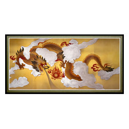 Oriental Furniture - Dragons in the Sky Canvas Wall Art - Printed on premium natural canvas, this wall art depicts a Chinese dragon soaring through the clouds in pursuit of a fiery sphere. A fixture in Chinese art and mythology, the dragon was believed to have supernatural powers over the weather and is often depicted chasing the sun across the sky in images like this one. This handsome artwork vividly evokes the bravery, strength, and nobility of the sacred creature. A perfect choice to accentuate your interior decor, this canvas print will bring the mystery of an ancient tradition to your home or business.