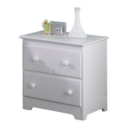 Atlantic Furniture - Atlantic Furniture Windsor 2 Drawer Nightstand in White - Atlantic Furniture - Nightstands - C69202 - The Windsor Nightstand has clean lines accentuated by simple decorative touches. The classic design, reminiscent of Mission style furniture, would be an ideal bedside storage / display piece for a range of decors including casual, country or contemporary.