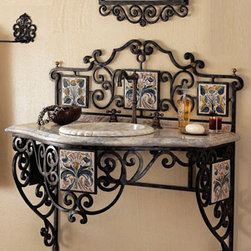 "Maitland-Smith - Iron Scroll Vanity - Not your same old ordinary vanity, this beautiful wrought iron scroll vanity adds an old world feel and elegance to the bath. Ceramic tiles are handpainted. Vanity has a marble top and sink is included, 38""H x 37""W x 22""D."