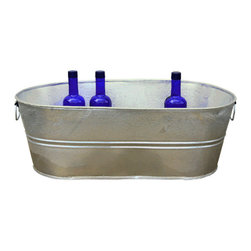 USA - Galvanized Planter Trough, 10.5 Gallon - This 10.5 gallon galvanized trough holds about 40 standard beverages (12.7 ounces).  Hot dipped zinc coating that prevents corrosion when kept outside and around any holes created for drainage. Made in the USA. This item ships with a manufacturer label. Rustic Hot Dipped Galvanized Finish.