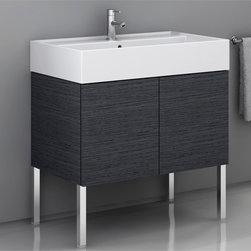 Iotti - 2 Doors Vanity Cabinet with Self Rimming Sink - Less is more: a sink of the highest quality, first choice materials and a minimalist style with no handles and simple clean volumes. This is in short the soul of the line. Chrome legs to be purchased seperately. Made in Italy. High end ceramic sink made in Italy. Faucet not included. The engineered wood vanity is made with waterproof panels. Single vanity features 2 doors. Top of the vanity comes in a white finish.