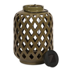 "IMAX - Jardly Ceramic Candle Lantern - The Jardly Ceramic Candle Lantern brings bold color and subtle lighting to your decor. This cutwork ceramic lantern holds a votive or small pillar candle, or can be illuminated using the small solar light in the lid! Item Dimensions: (11""h x 7.75""w x 7.75"")"