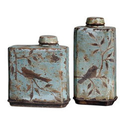 Silver Nest - Perch Lidded Canisters - Set of 2 - These ceramic containers feature a distressed, crackled light sky blue finish with antiqued khaki undertones. Removable lids. Sizes: Sm-11x12x5, Lg-8x16x5