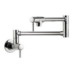 Hansgrohe - Hansgrohe - Talis C Pot Filler Wall Mounted - 04218000 - Chrome - Get quick and easy water control with the single-handle lever design of the Hansgrohe Talis Wall-Mounted Pot Filler in Chrome. The pot fillers chrome finish will create a bright, reflective, cool gray metallic look in your kitchen. For convenient usage, the pot filler includes a swing-arm spout and 2 ceramic shut-off valves. With a 1/2 in. connection for easy placement, the pot filler mounts to a wall for single-hole installation (instructions included).