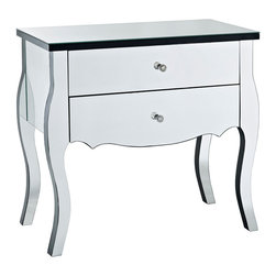 Powell - Powell Mirrored 2 Drawer Console - The Mirrored Two Drawer Console is a unique and glamorous addition to your home. Perfect for adding to a bedroom  hallway or entry  the console will add function and style to any space. Two deep drawers provide ample interior storage space  while the wide top is perfect for displaying flowers  photos and more. The mirrored surfaces will help bounce light around making your space look and feel brighter and bigger.