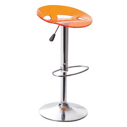 Splash Bar Stool Set of 2 - Acrylic seat with chromed steel base. These contemporary acrylic barstools feature a backless, contoured design. Each stool has a footrest and adjustable seat for added comfort.