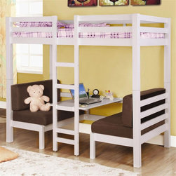 Coaster - Twin Over Twin Convertible Loft Bunk Bed in W - NOTE: ivgStores DOES NOT offer assembly on loft beds or bunk beds. Mattress sold separately. Twin over twin bed. Made from solid hardwoods. 81.5 in. L x 42.63 in. W x 72 in. H. Central ladder. Bottom bed weight capacity: 150 lbs.. Sturdy straight rails. Padded seats and table surface. Padded benches easily convert to a twin size sleeping area. Top bunk weight capacity: 125 lbs.. Warranty. Bunk Bed Warning. Please read before purchase.Create a fun and usable space in your youth bedroom with this unique convertible loft bed.