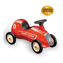 "Radio Flyer - Little Red Roadster - Put your child in the driver's seat of their own imagination as they learn the rules of the road with this Ride-On. This little Red Roadster can make childhood dreams soar. The classic retro styling and quality craftsmanship make this a perfect addition to your home. This is a classic that can be passed on for generations. Features: -Cool retro styling . -Classic foot-to-floor car . -Shiny red all-steel body . -Honking horn . -Real working steering wheel . -Steel wheels with real rubber tires . -Awards: Parent's Magazine Best Toy of the Year . Specifications -For ages 1 - 4 . -Body dimensions: 26.5"" x 9.5"" x 11"" . -Wheel dimensions: 6"" x 1.25"" . -Weight: 14.94 lbs ."
